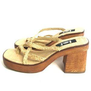 Vintage Platform Sandals Lemongrass Square Toe 10